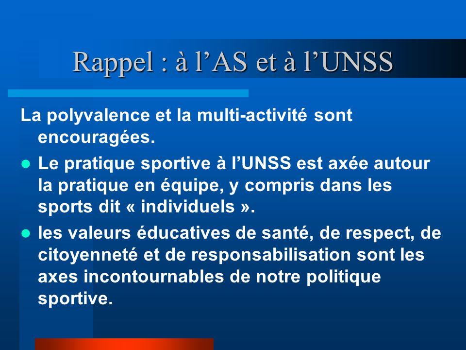 Rappel : à lAS et à lUNSS La polyvalence et la multi-activité sont encouragées.