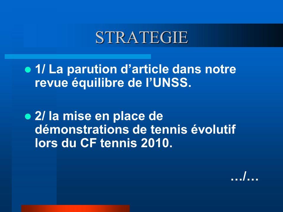STRATEGIE 1/ La parution darticle dans notre revue équilibre de lUNSS. 2/ la mise en place de démonstrations de tennis évolutif lors du CF tennis 2010