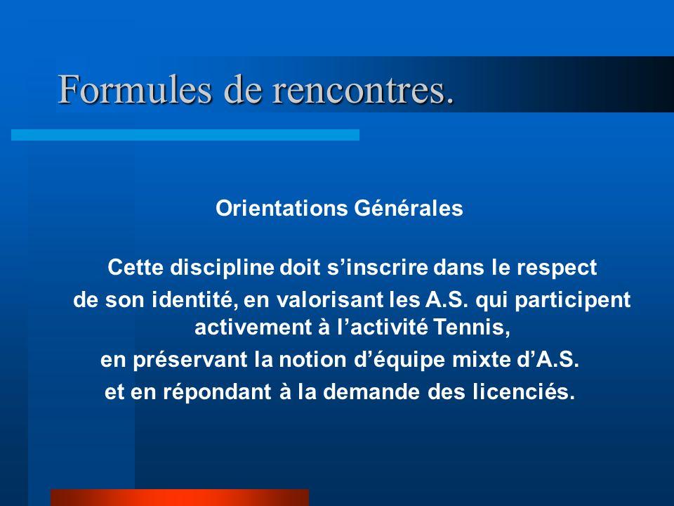 Formules de rencontres. Orientations Générales Cette discipline doit sinscrire dans le respect de son identité, en valorisant les A.S. qui participent