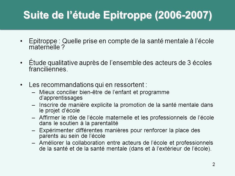 2 Suite de létude Epitroppe (2006-2007) Epitroppe : Quelle prise en compte de la santé mentale à lécole maternelle ? Étude qualitative auprès de lense