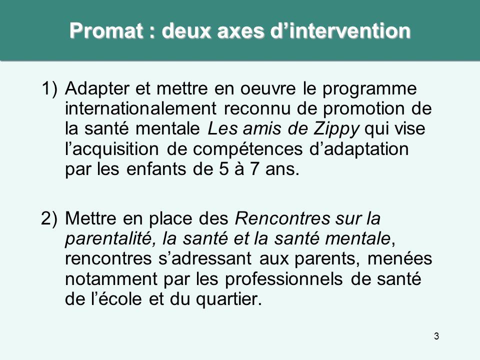3 1)Adapter et mettre en oeuvre le programme internationalement reconnu de promotion de la santé mentale Les amis de Zippy qui vise lacquisition de co
