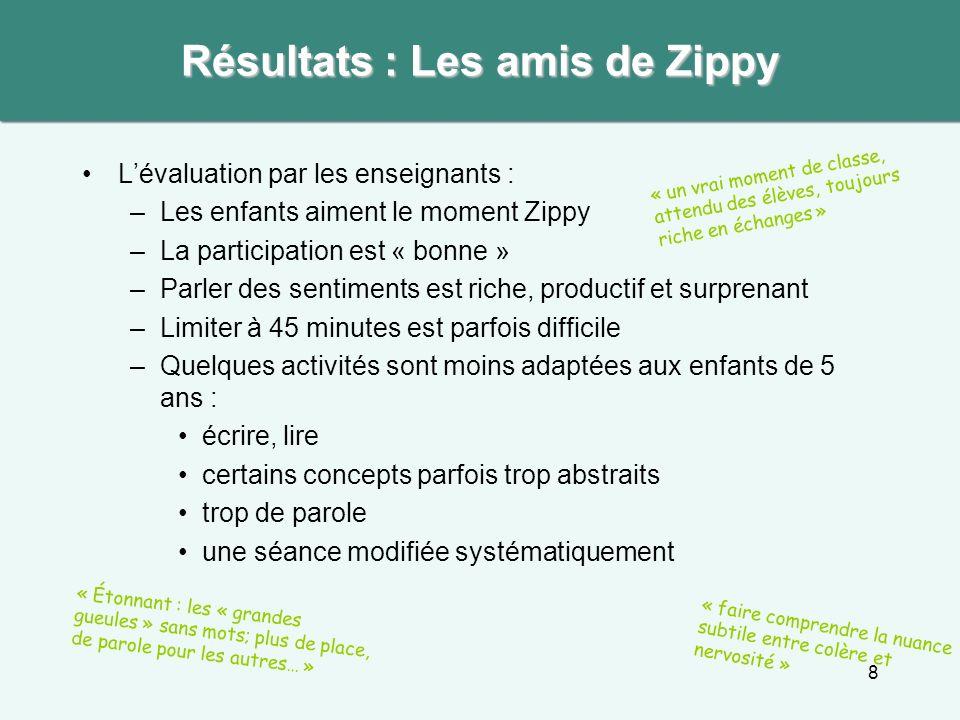 8 Lévaluation par les enseignants : –Les enfants aiment le moment Zippy –La participation est « bonne » –Parler des sentiments est riche, productif et