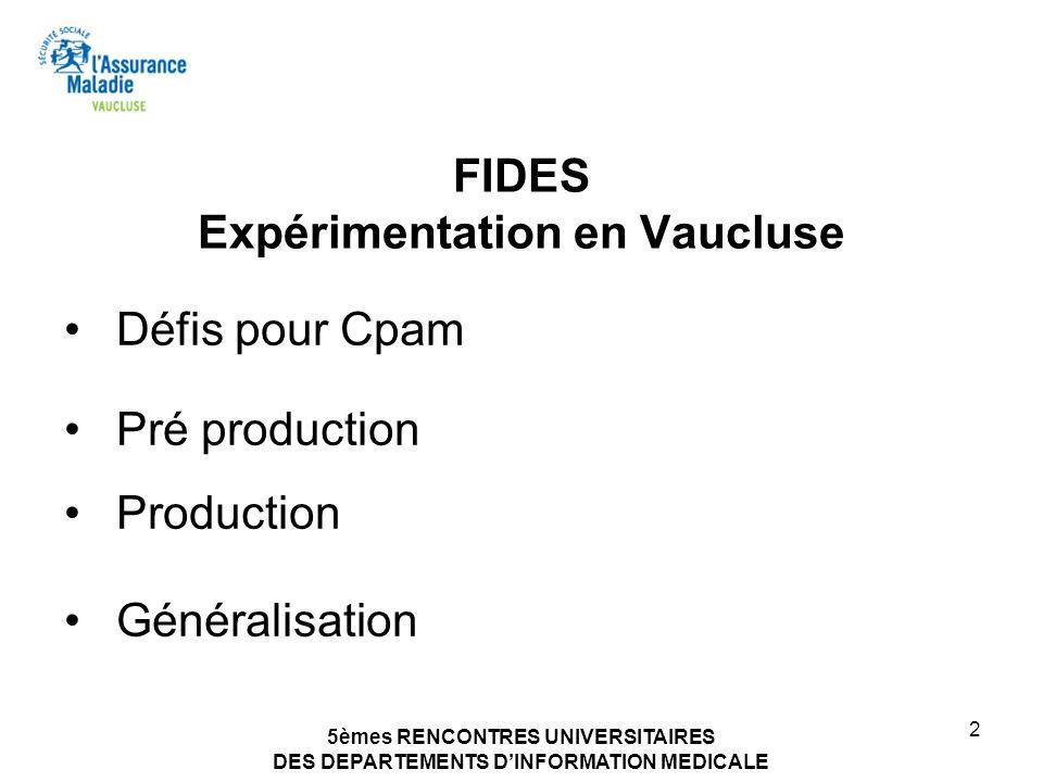 5èmes RENCONTRES UNIVERSITAIRES DES DEPARTEMENTS DINFORMATION MEDICALE 2 FIDES Expérimentation en Vaucluse Défis pour Cpam Pré production Production G