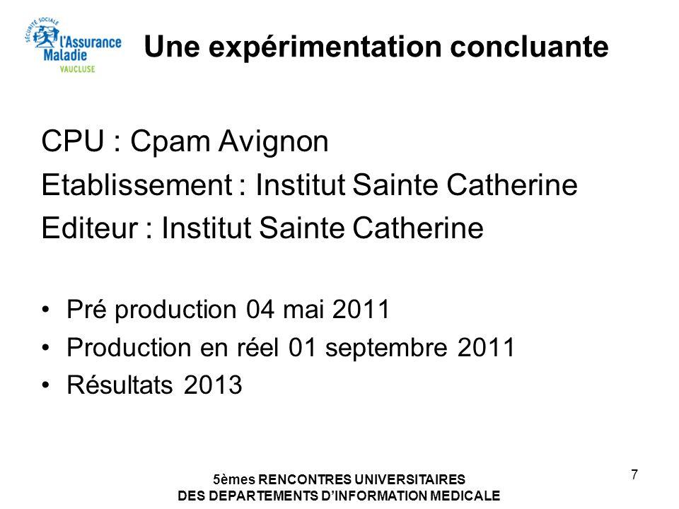 5èmes RENCONTRES UNIVERSITAIRES DES DEPARTEMENTS DINFORMATION MEDICALE 7 Une expérimentation concluante CPU : Cpam Avignon Etablissement : Institut Sa