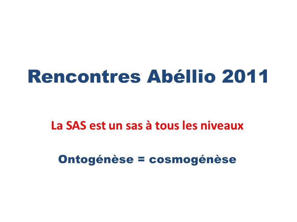 Rencontres Abéllio 2011 La SAS est un sas à tous les niveaux Ontogénèse = cosmogénèse