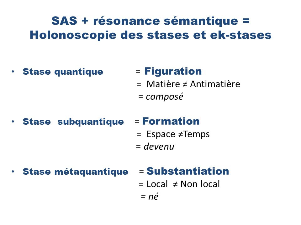 SAS + résonance sémantique = Holonoscopie des stases et ek-stases Stase quantique = Figuration = Matière Antimatière = composé Stase subquantique = Formation = Espace Temps = devenu Stase métaquantique = Substantiation = Local Non local = né