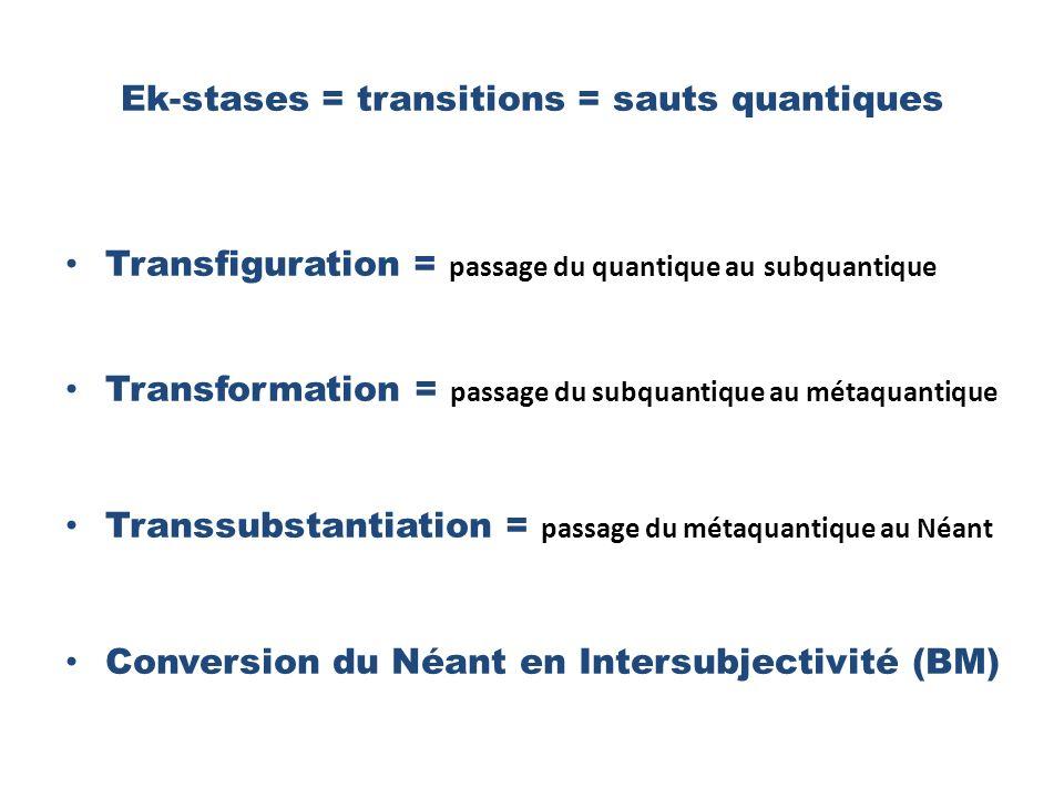 Ek-stases = transitions = sauts quantiques Transfiguration = passage du quantique au subquantique Transformation = passage du subquantique au métaquantique Transsubstantiation = passage du métaquantique au Néant Conversion du Néant en Intersubjectivité (BM)