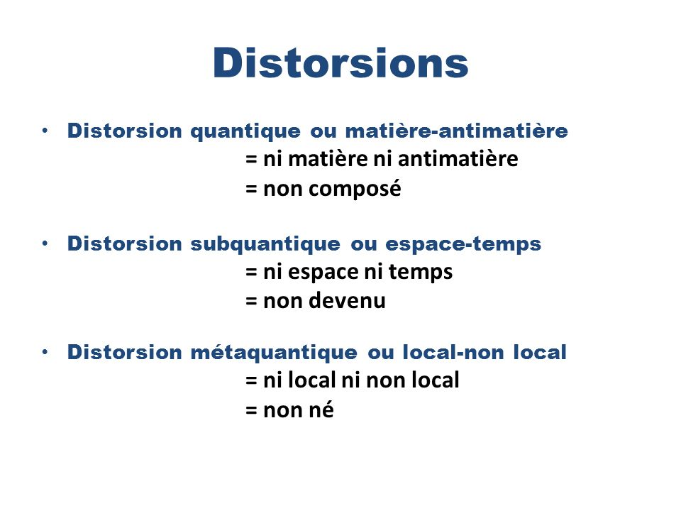 Distorsions Distorsion quantique ou matière-antimatière = ni matière ni antimatière = non composé Distorsion subquantique ou espace-temps = ni espace ni temps = non devenu Distorsion métaquantique ou local-non local = ni local ni non local = non né
