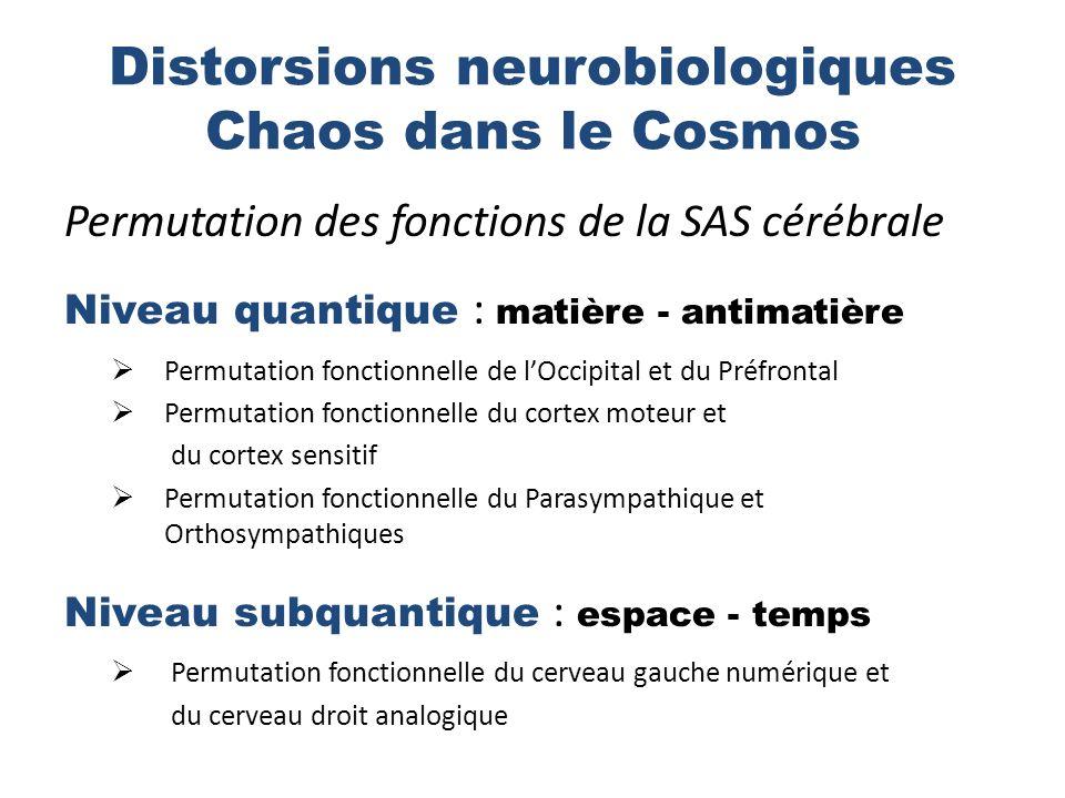 Distorsions neurobiologiques Chaos dans le Cosmos Permutation des fonctions de la SAS cérébrale Niveau quantique : matière - antimatière Permutation fonctionnelle de lOccipital et du Préfrontal Permutation fonctionnelle du cortex moteur et du cortex sensitif Permutation fonctionnelle du Parasympathique et Orthosympathiques Niveau subquantique : espace - temps Permutation fonctionnelle du cerveau gauche numérique et du cerveau droit analogique