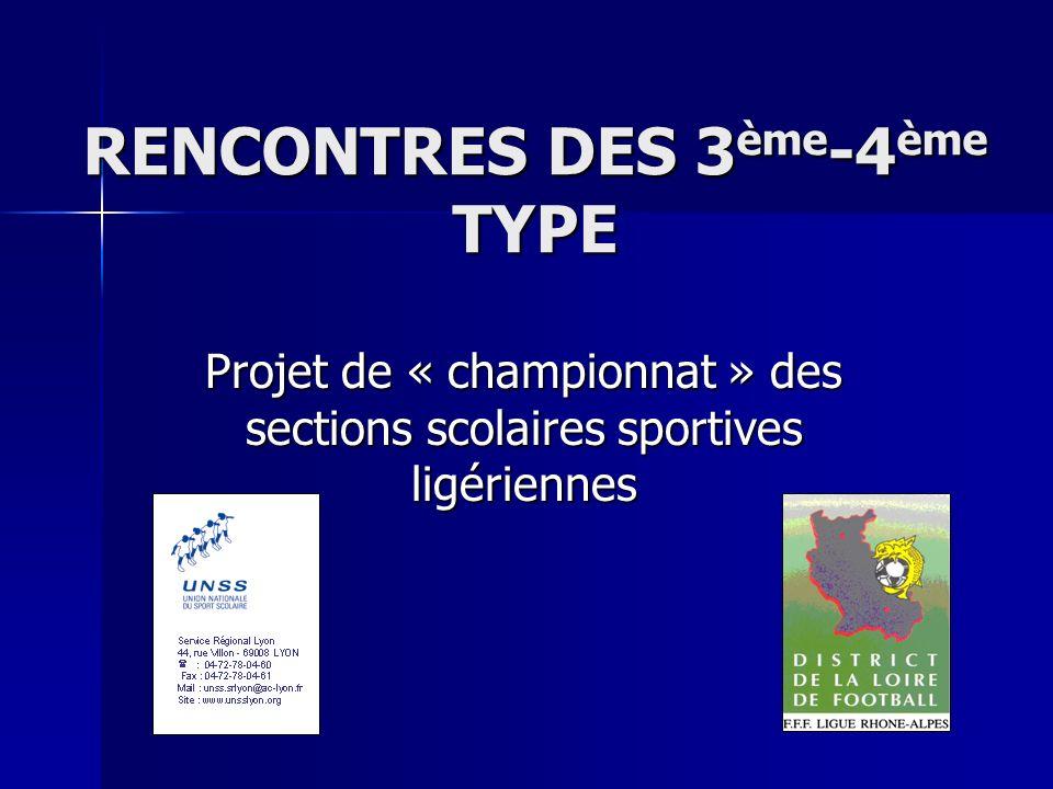 RENCONTRES DES 3ème-4ème TYPE Projet de « championnat » des sections scolaires sportives ligériennes