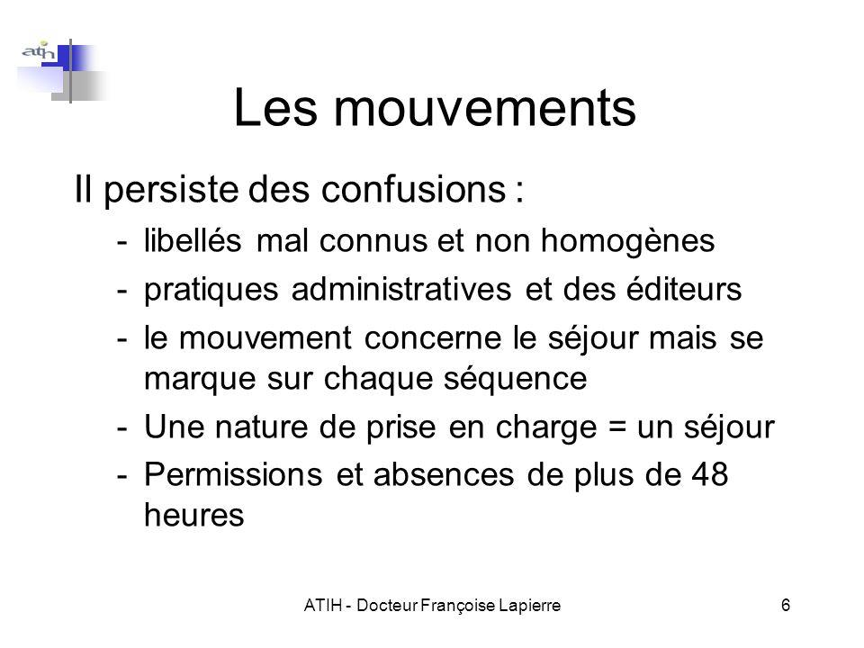 ATIH - Docteur Françoise Lapierre6 Les mouvements Il persiste des confusions : -libellés mal connus et non homogènes -pratiques administratives et des