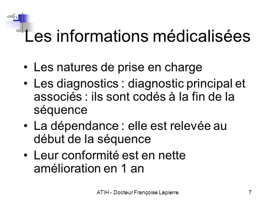 ATIH - Docteur Françoise Lapierre7 Les informations médicalisées Les natures de prise en charge Les diagnostics : diagnostic principal et associés : i