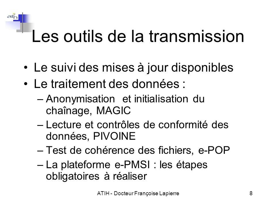 ATIH - Docteur Françoise Lapierre8 Les outils de la transmission Le suivi des mises à jour disponibles Le traitement des données : –Anonymisation et i