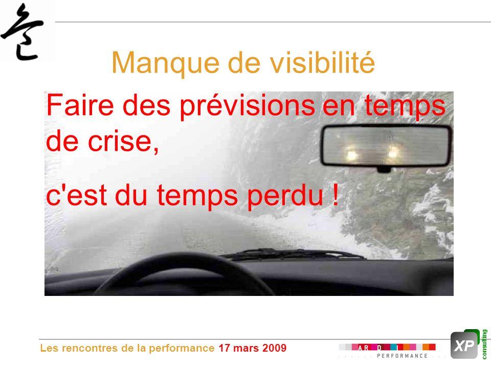 Les rencontres de la performance 17 mars 2009 Manque de visibilité Faire des prévisions en temps de crise, c est du temps perdu !