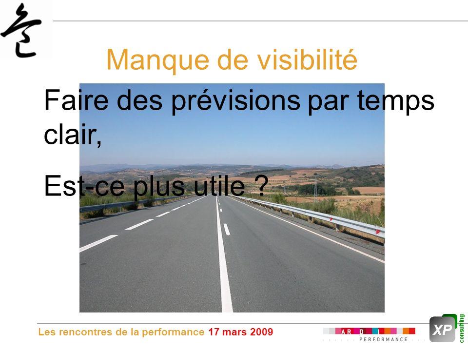Les rencontres de la performance 17 mars 2009 Manque de visibilité Faire des prévisions par temps clair, Est-ce plus utile