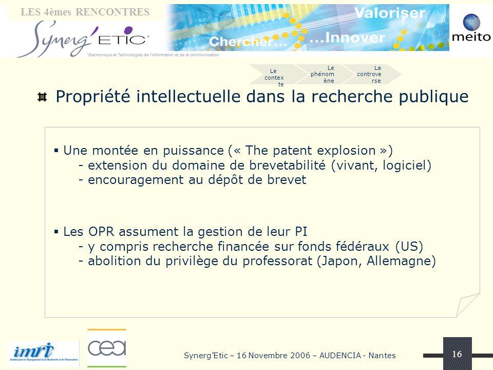 Tribune « laboratoires» LES 4èmes RENCONTRES SynergEtic – 16 Novembre 2006 – AUDENCIA - Nantes 16 Propriété intellectuelle dans la recherche publique