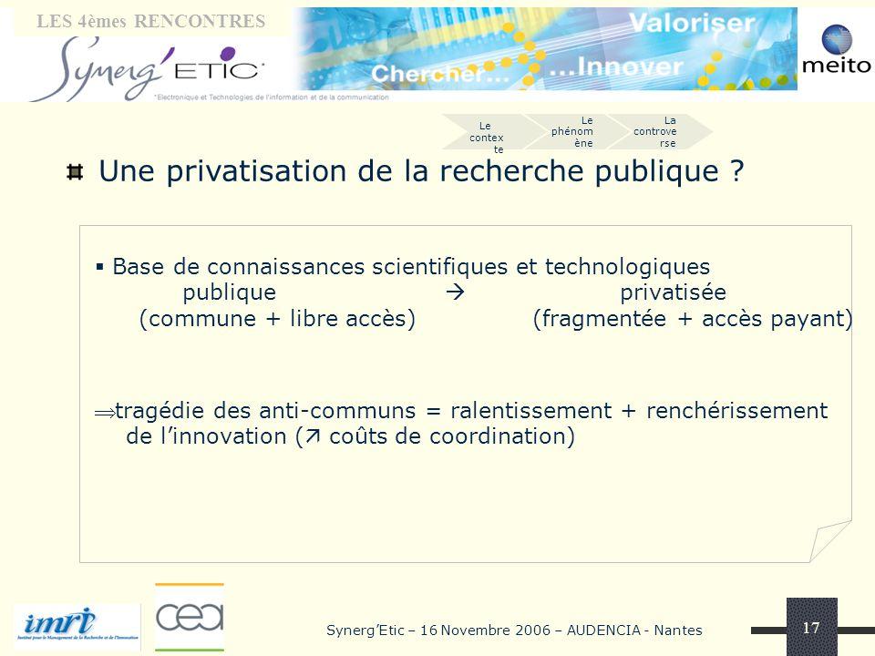 Tribune « laboratoires» LES 4èmes RENCONTRES SynergEtic – 16 Novembre 2006 – AUDENCIA - Nantes 17 Une privatisation de la recherche publique .