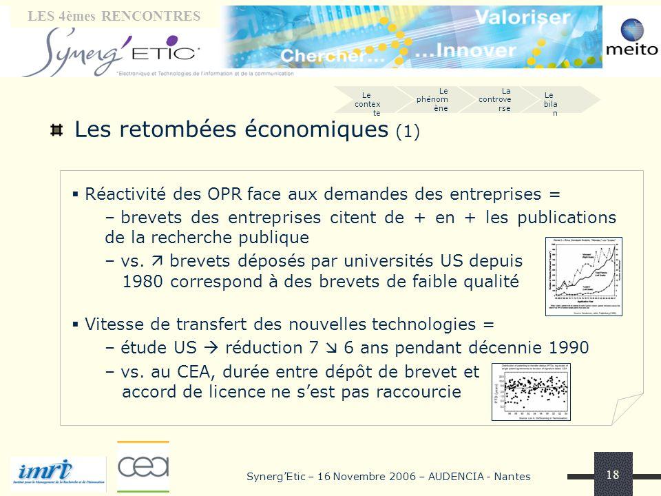 Tribune « laboratoires» LES 4èmes RENCONTRES SynergEtic – 16 Novembre 2006 – AUDENCIA - Nantes 18 Les retombées économiques (1) Réactivité des OPR fac