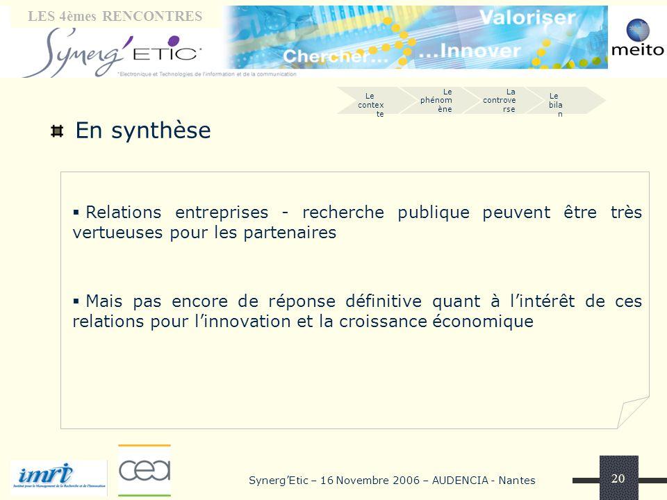 Tribune « laboratoires» LES 4èmes RENCONTRES SynergEtic – 16 Novembre 2006 – AUDENCIA - Nantes 20 En synthèse Le phénom ène La controve rse Le contex
