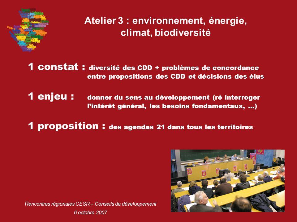 Rencontres régionales CESR – Conseils de développement 6 octobre 2007 Atelier 3 : environnement, énergie, climat, biodiversité 1 constat : diversité des CDD + problèmes de concordance entre propositions des CDD et décisions des élus 1 proposition : des agendas 21 dans tous les territoires 1 enjeu : donner du sens au développement (ré interroger lintérêt général, les besoins fondamentaux, …)