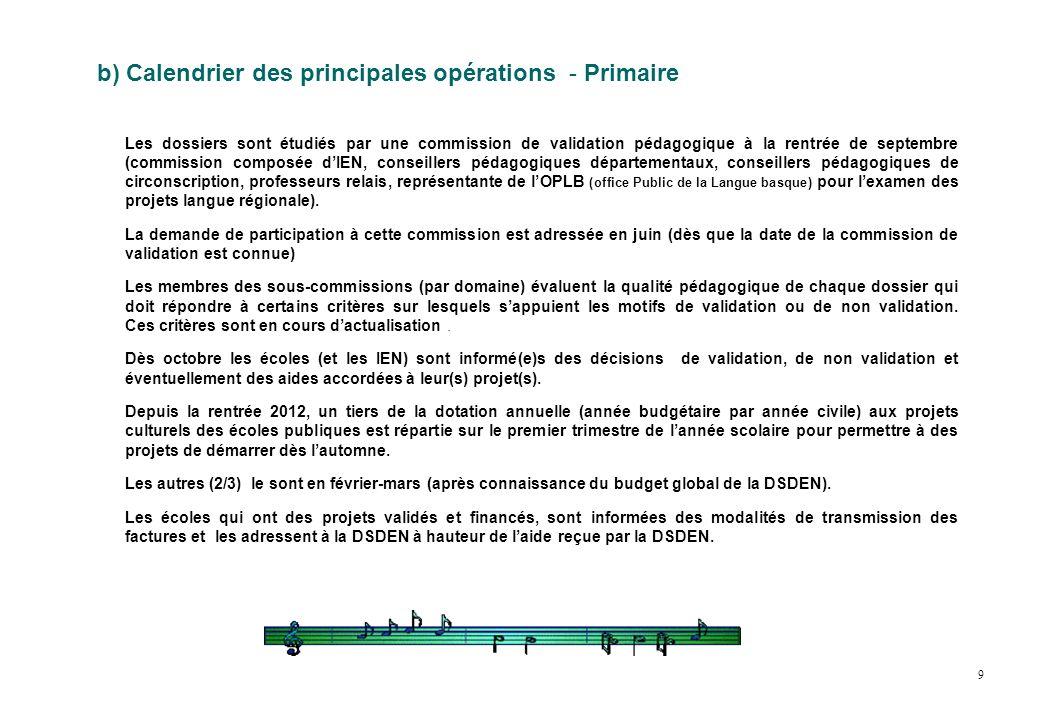 b) Calendrier des principales opérations - Primaire Les dossiers sont étudiés par une commission de validation pédagogique à la rentrée de septembre (