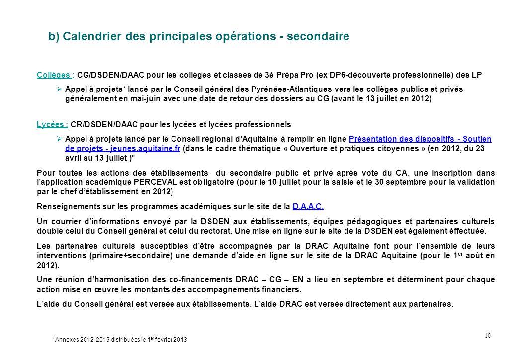 b) Calendrier des principales opérations - secondaire Collèges : CG/DSDEN/DAAC pour les collèges et classes de 3è Prépa Pro (ex DP6-découverte profess