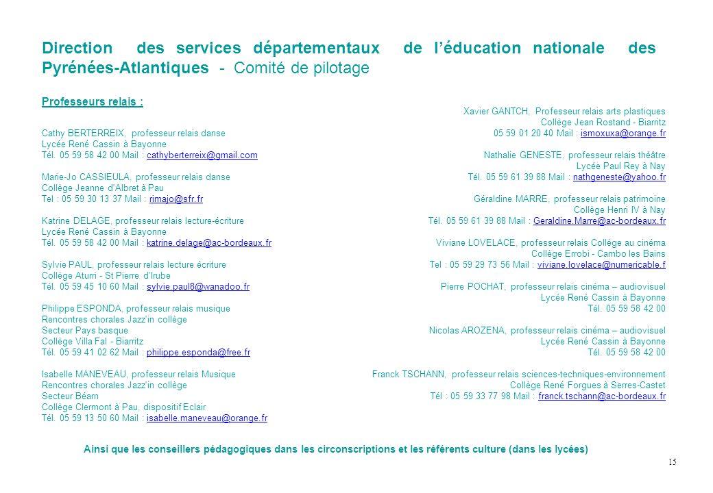 Direction des services départementaux de léducation nationale des Pyrénées-Atlantiques - Comité de pilotage Professeurs relais : Cathy BERTERREIX, pro