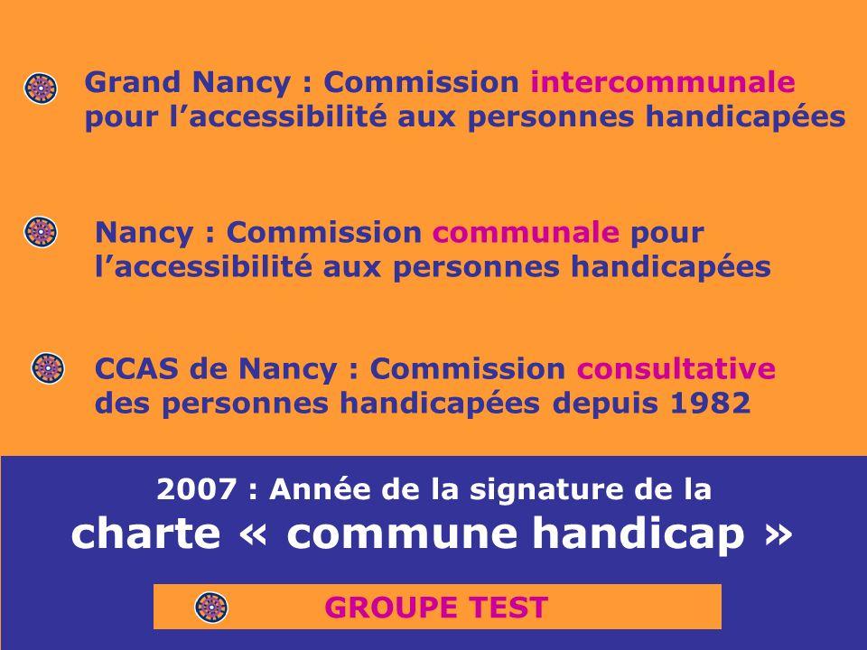 CCAS de Nancy : Commission consultative des personnes handicapées depuis 1982 Nancy : Commission communale pour laccessibilité aux personnes handicapées Grand Nancy : Commission intercommunale pour laccessibilité aux personnes handicapées 2007 : Année de la signature de la charte « commune handicap » GROUPE TEST