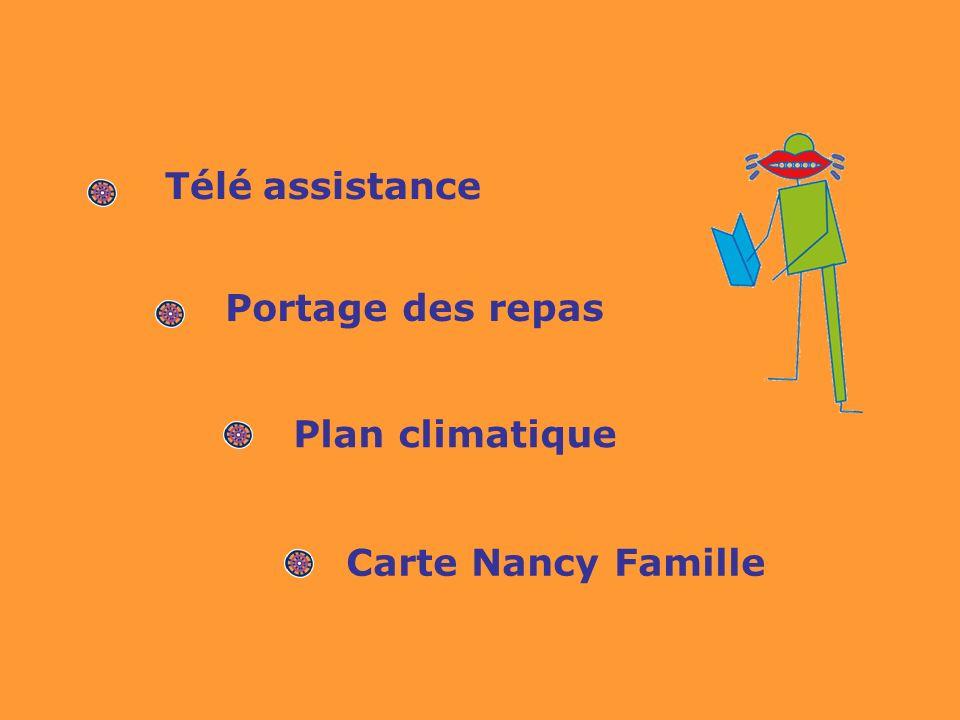Télé assistance Portage des repas Plan climatique Carte Nancy Famille