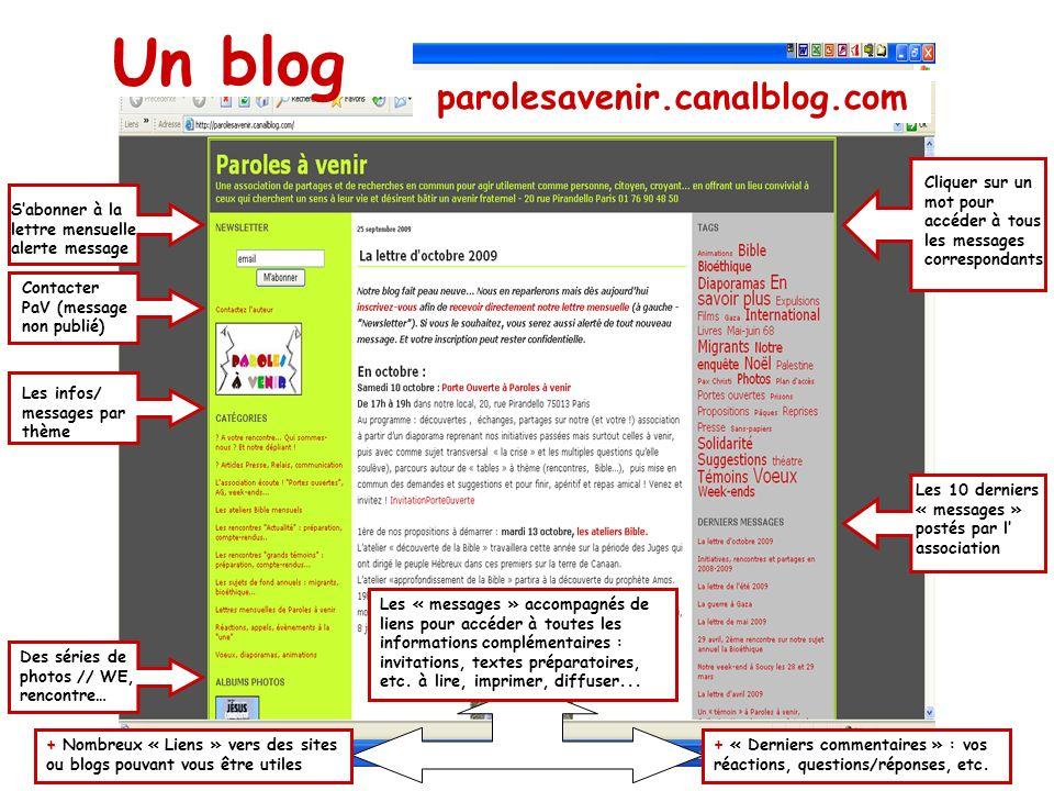 Un blog parolesavenir.canalblog.com Contacter PaV (message non publié) Sabonner à la lettre mensuelle alerte message Les infos/ messages par thème Des