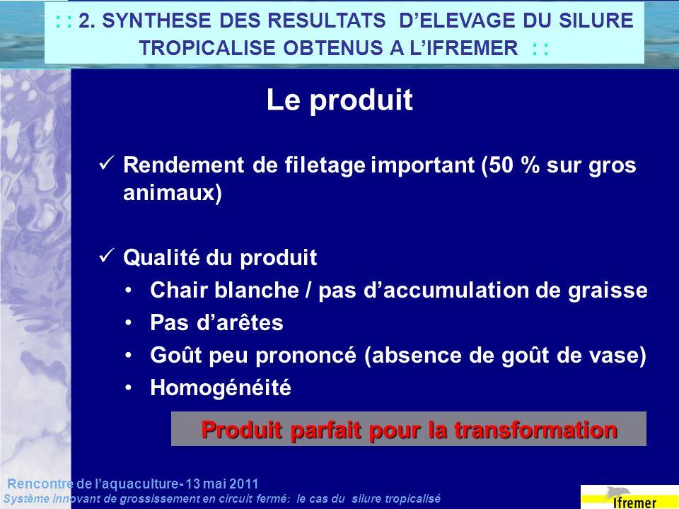 Rencontre de laquaculture- 13 mai 2011 Système innovant de grossissement en circuit fermé: le cas du silure tropicalisé Le produit Rendement de fileta