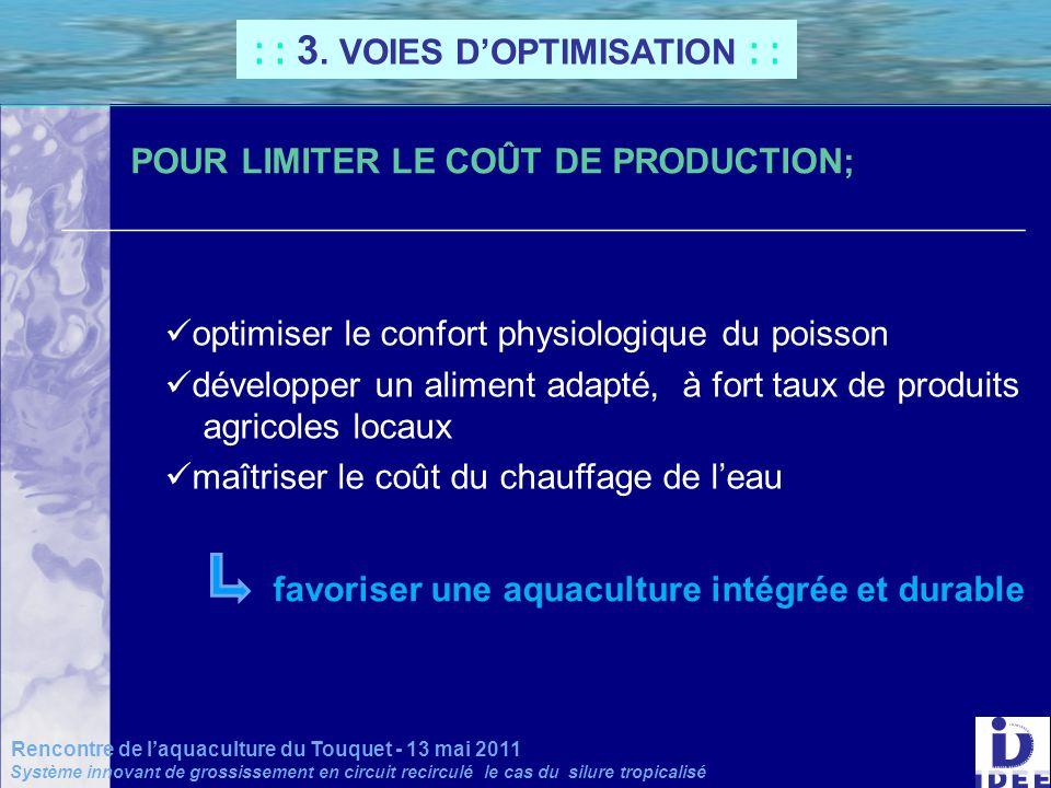 _______________________________________________________ POUR LIMITER LE COÛT DE PRODUCTION; : : 3. VOIES DOPTIMISATION : : Rencontre de laquaculture d