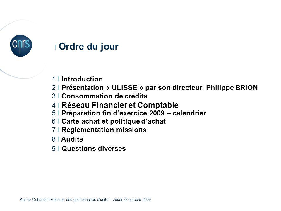 Karine Cabandé l Réunion des gestionnaires dunité – Jeudi 22 octobre 2009 I Ordre du jour 1 I Introduction 2 I Présentation « ULISSE » par son directe