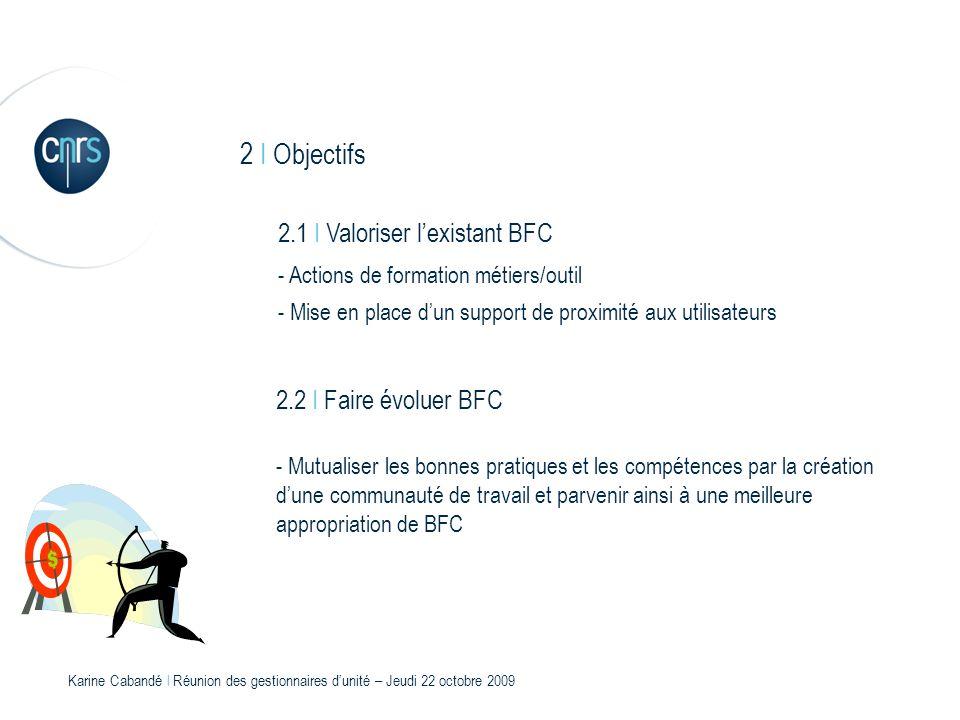Karine Cabandé l Réunion des gestionnaires dunité – Jeudi 22 octobre 2009 3 I Différents chantiers - Préparation fin dexercice Documentation Mode opératoire Notes explicatives : remontées crédits / reports / CAP - Support de proximité BFC - Requêtes BFC - Fiches de procédures - Suivi de la qualité des données financières entre Xlab et BFC Les Ecarts 3.1 I 8 chantiers dont :