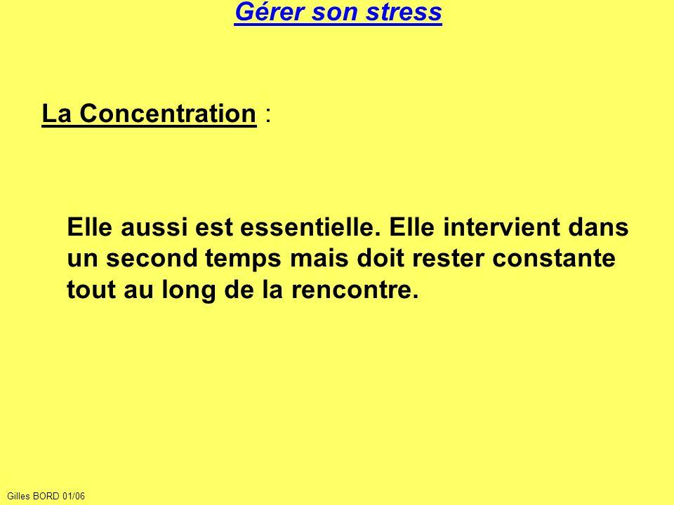 Gérer son stress La Concentration : Elle aussi est essentielle. Elle intervient dans un second temps mais doit rester constante tout au long de la ren