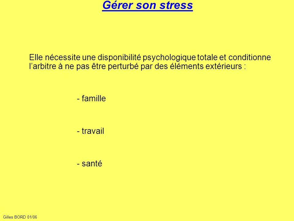 Gérer son stress Elle nécessite une disponibilité psychologique totale et conditionne larbitre à ne pas être perturbé par des éléments extérieurs : -