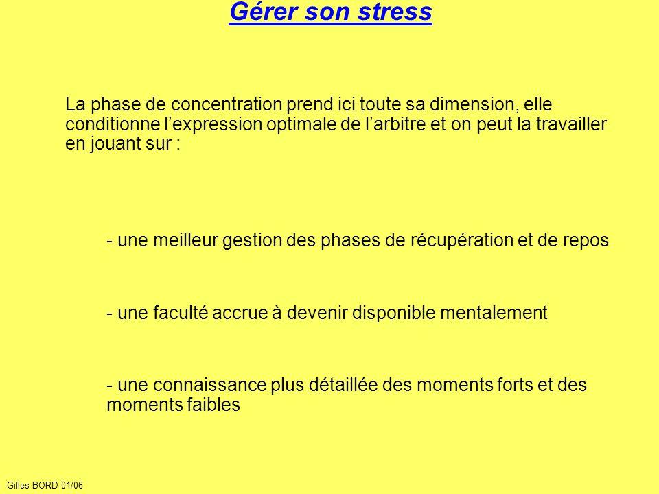 Gérer son stress La phase de concentration prend ici toute sa dimension, elle conditionne lexpression optimale de larbitre et on peut la travailler en