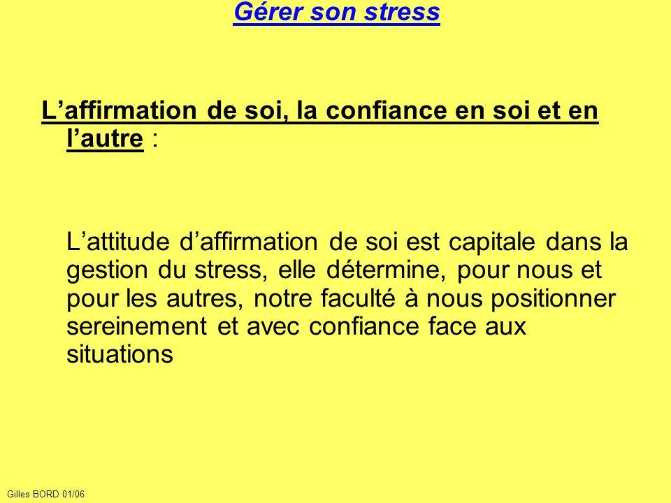 Gérer son stress Laffirmation de soi, la confiance en soi et en lautre : Lattitude daffirmation de soi est capitale dans la gestion du stress, elle dé