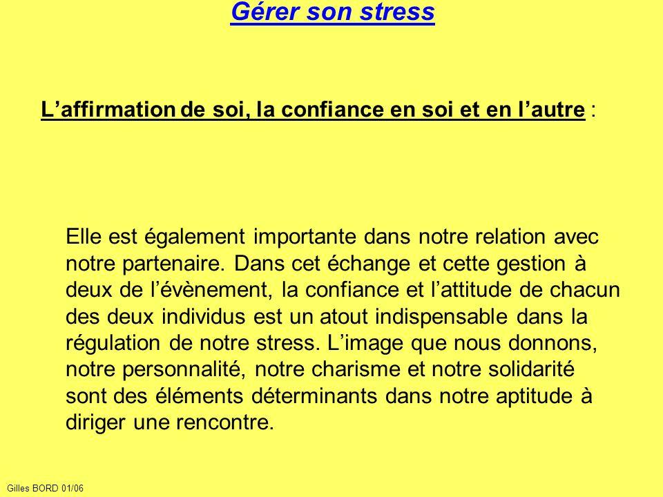 Gérer son stress Laffirmation de soi, la confiance en soi et en lautre : Elle est également importante dans notre relation avec notre partenaire. Dans
