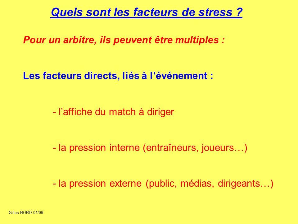 Quels sont les facteurs de stress ? Pour un arbitre, ils peuvent être multiples : Les facteurs directs, liés à lévénement : - laffiche du match à diri