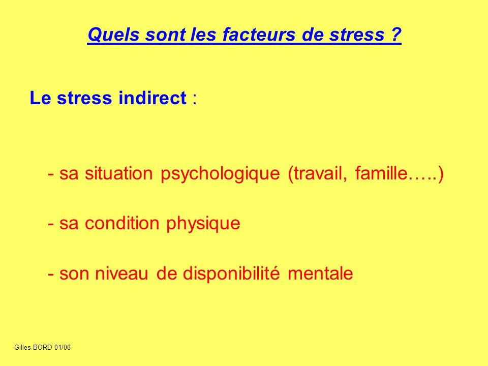 Le stress indirect : - sa situation psychologique (travail, famille…..) - sa condition physique - son niveau de disponibilité mentale Quels sont les f
