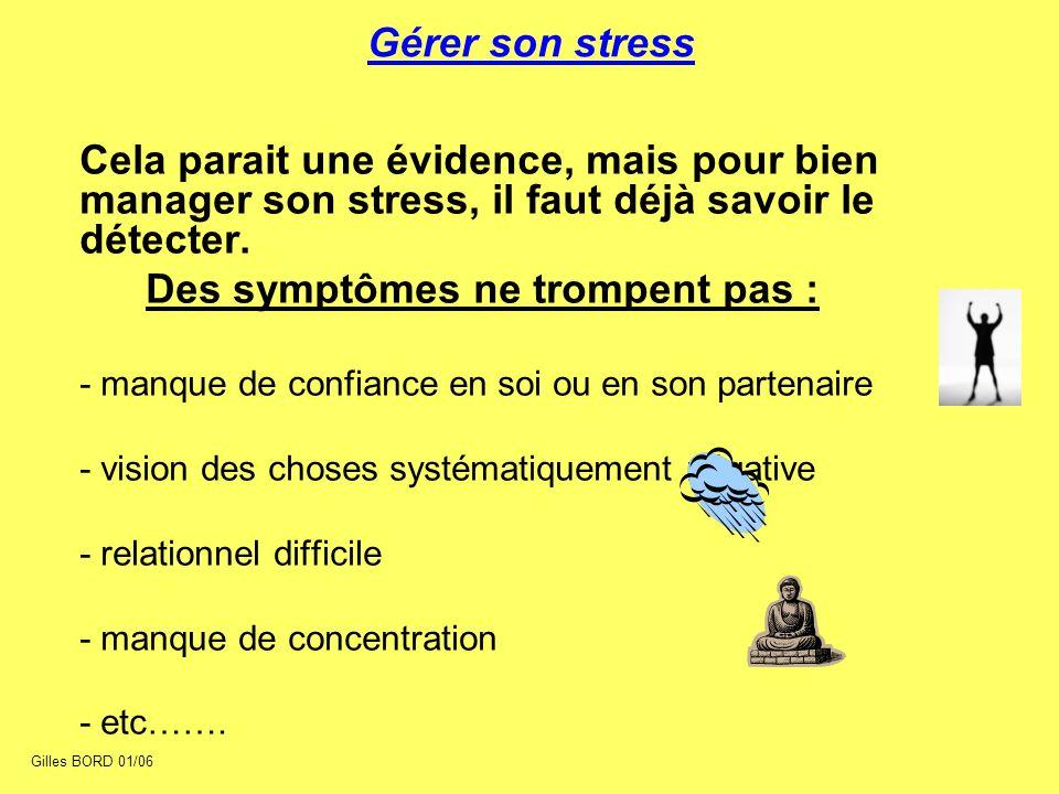 Gérer son stress Cela parait une évidence, mais pour bien manager son stress, il faut déjà savoir le détecter. Des symptômes ne trompent pas : - manqu