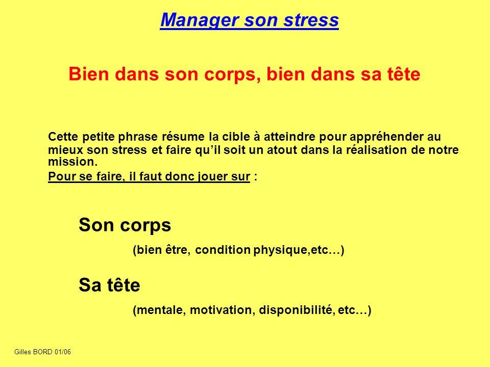 Manager son stress Bien dans son corps, bien dans sa tête Cette petite phrase résume la cible à atteindre pour appréhender au mieux son stress et fair