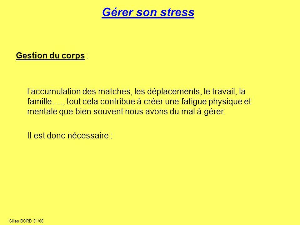 Gérer son stress Gestion du corps : laccumulation des matches, les déplacements, le travail, la famille…., tout cela contribue à créer une fatigue phy