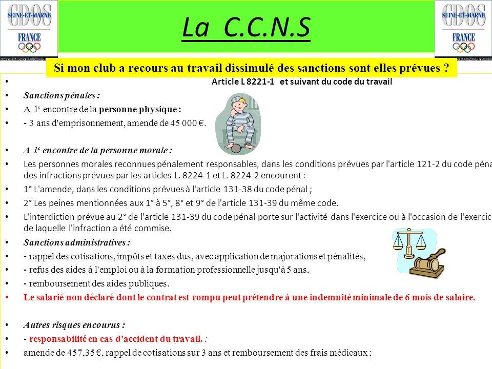 Article L 8221-1 et suivant du code du travail Sanctions pénales : A l encontre de la personne physique : - 3 ans d'emprisonnement, amende de 45 000.
