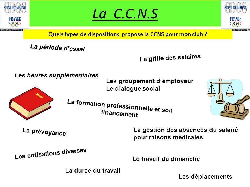 La C.C.N.S Quels types de dispositions propose la CCNS pour mon club ? La période dessai Les heures supplémentaires La formation professionnelle et so