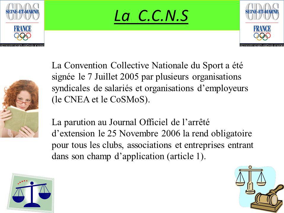 La C.C.N.S La Convention Collective Nationale du Sport a été signée le 7 Juillet 2005 par plusieurs organisations syndicales de salariés et organisati