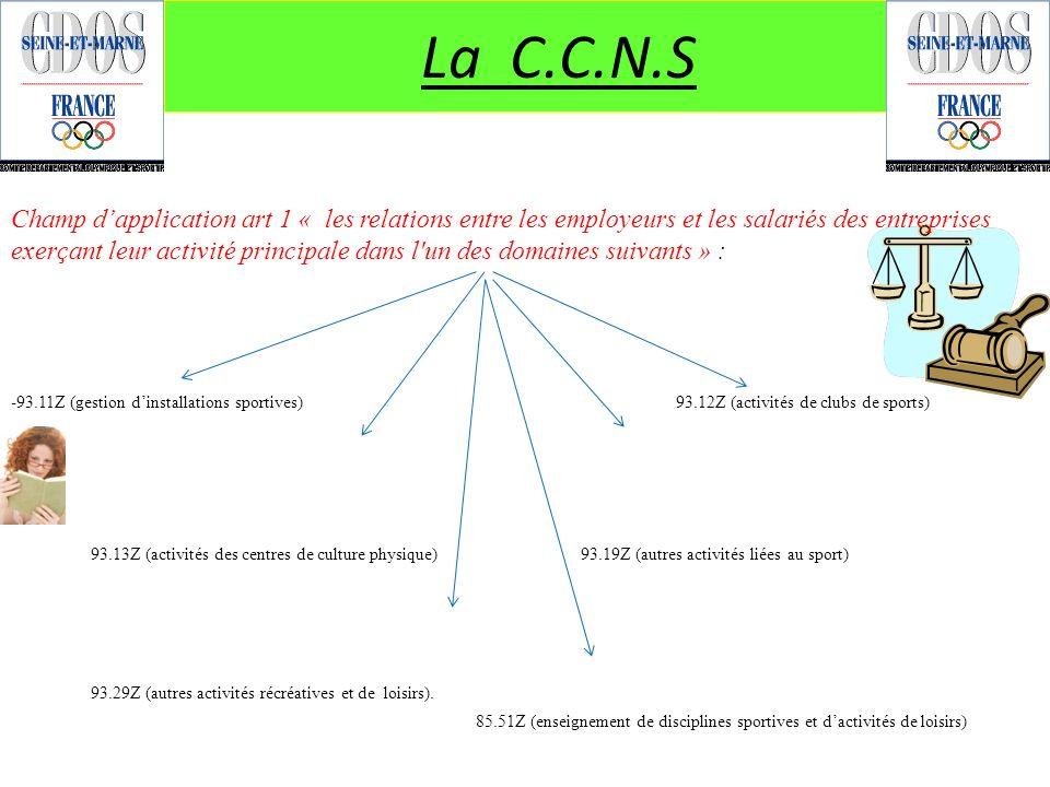 La C.C.N.S - 93.13Z (activités des centres de culture physique)93.19Z (autres activités liées au sport) 93.29Z (autres activités récréatives et de loi