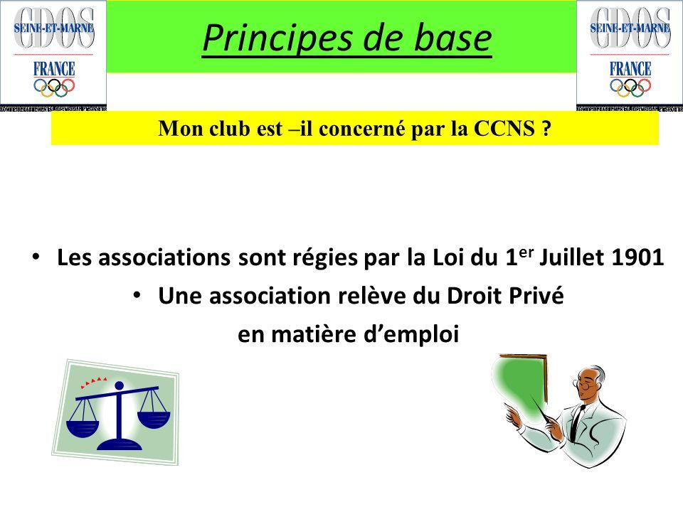 Principes de base Les associations sont régies par la Loi du 1 er Juillet 1901 Une association relève du Droit Privé en matière demploi Mon club est –