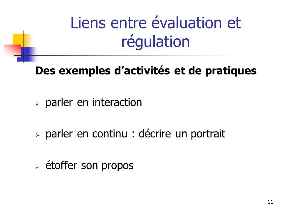 11 Liens entre évaluation et régulation Des exemples dactivités et de pratiques parler en interaction parler en continu : décrire un portrait étoffer son propos